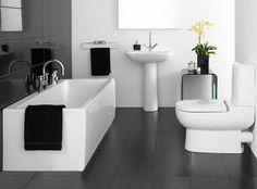 Modern Bathroom Design Ideas And Tips- Small Master Bathroom Interior Design Ideas 2013 - Best Bathroom Flooring, Grey Bathroom Tiles, Bathroom Layout, Simple Bathroom, Bathroom Black, Grey Tiles, Black Tiles, Bathroom Furniture, Charcoal Bathroom