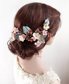 copper wedding hair clip, turquoise bridal hair vine by The Honeycomb: thehoneycomb.etsy.com