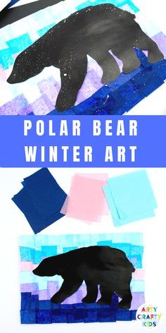 Printable Polar Bear Winter Art project for kids. Print the polar bear silhouette and create a beautiful Winter scene out of tissue paper! Animal Art Projects, Winter Art Projects, Easy Art Projects, Winter Crafts For Kids, Projects For Kids, Kids Winter Activities, Winter Art Kindergarten, Winter Preschool Activities, Easy Art For Kids