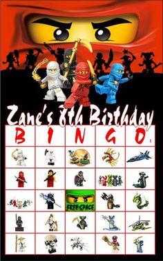 16 Card Personalized Party Favors Game Lego Ninjago Green Ninja BINGO Birthday!