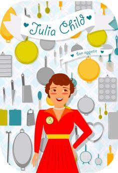 Pretty illustration of Julia Child by Robin Sheldon (via Design Work Life)