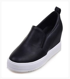 a9f3c409962 Aisun Women s Casual Round Toe Low Tops Thick Sole Elevator Platform  Loafers Slip On Heeled Sneakers