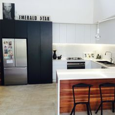 black, white and wood; modern kitchen