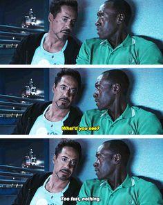 """Fun fact: this scene wasn't scripted.  (""""Iron Man 3"""")"""