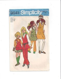Simplicity 9541 Pattern for Girls' Jumper, Tunic, Skirt, Pants, Size 7, From 1971, UNCUT Pattern, Vintage Pattern, Home Sewing Pattern by VictorianWardrobe on Etsy