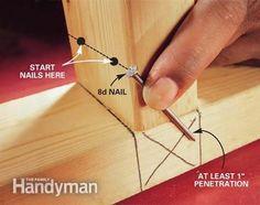 Toenailing Basics: Our staff expert walks you through the basics of this essential carpentry skill Read more: http://www.familyhandyman.com/carpentry/toenailing-basics/view-all #woodworkingtips