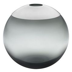 Ulla Christiansson, smoked glass globe vase with silver lid
