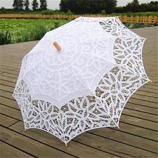 Handmade Cotton Lace Wedding Bridal Parasol Umbrella White for Party Proms