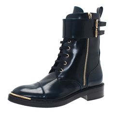 Louis Vuitton Navy Blue Leather Like A Man Ranger Boots Size 38.5