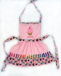 Pink Cupcake Crayon Play Apron by ccdesigns on Etsy
