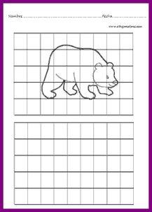 dibujos de animales después de plasmar en la cuadrícula inferior colorear