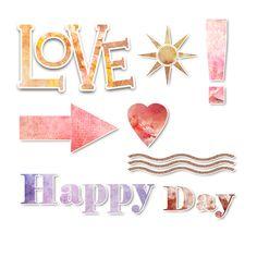 Words, Signs, Text, Elements, Scrap, Heart, Love, Happy