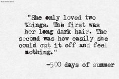 Movie Quote , 500 Days Of Summer Indie Quotes, Tv Quotes, Poem Quotes, Life Quotes, 500 Days Of Summer Quotes, Favorite Movie Quotes, Feeling Nothing, Movie Lines, Note To Self