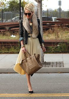 Leather Jacket + Denim Shirt + Stole + Midi skirt + Camel Bag + Pumps + Sunglasses