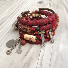 Silk Road Gypsy Bangle Stack - Kashgar - 5 Bohemian Tribal Bracelets,  Silk Wrapped and Beaded