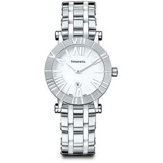Atlas® Watch ($4,100) ❤ liked on Polyvore featuring jewelry, watches, tiffany co watches, stainless steel wrist watch, tiffany co jewelry, white watches and stainless steel jewellery