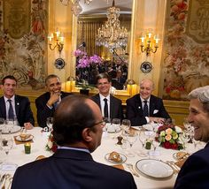 President @fhollande and Prime Minister Manuel Valls of France hosted a dinner in #Paris where guests included President @barackobama and Secretary of State John Kerry. (Look in the mirror to see others in the room including @crowleygraph a @nytimes photographer who is photographing the #climatetalks.) Leaders of industrialized nations and developing countries have expressed near unanimous agreement that climate change is real that it is dangerous and that something must be done. The…