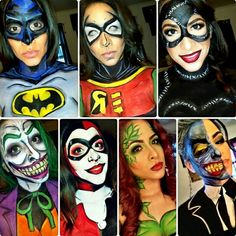 Gothams Infamous superheroes and villains- Artist Jessica Pagan #batman #art #facepaint #makeup #bodypaint #cosplay