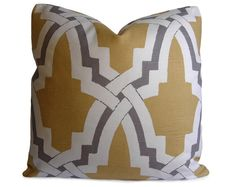Trellis Pillow Cover in Gray White and Golden by StitchedNestings, $45.00