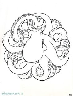 Sacred Octopus original ink drawing by Erika Moen (Dar Comic) $40