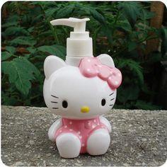 [Visit to Buy] hello kitty cute storage jars Cat Bath liquid bottle Pink mason jar Children and women like it very much #Advertisement