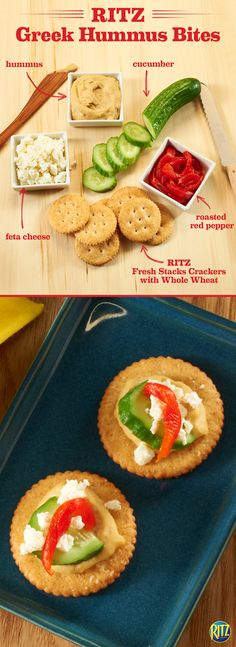 These RITZ cracker Greek Hummus Bites have us daydreaming about the Mediterranean islands. Spread hummus on a Baked with Whole Wheat RITZ cracker. Top with cucumber, roasted red pepper, and crumbled feta. It may not be Santorini, but it's a refreshing and simple snack that will have you ready for summer. Life's Rich.