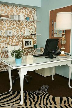 Home Office decoration & paint idea. I like the cottage appropriate color with the pattern flair + fun!