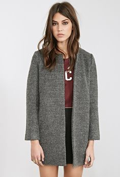 Collarless Bouclé Coat | FOREVER21 - 2000117389
