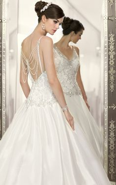 Vintage-inspired Luxe Taffeta designer wedding gown featuring a waterfall of pearls and jewels from Essense of Australia (Style D1537).