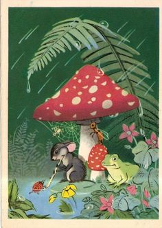 S. Byalkovskaya, 1956 - mouse and frog under a toadstool with bugs in the rain.