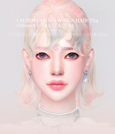 [ SummerBoe ] WINGS HAIR TS4 ON0918 F retexture DL : Summer Boe Sims 4 Cc Eyes, Sims 4 Mm, My Sims, The Sims 4 Packs, Pelo Sims, Sims4 Clothes, Sims 4 Gameplay, Sims Hair, Sims 4 Clothing