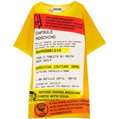 Moschino Oversized printed jersey T-shirt dress ($760) ❤ liked on Polyvore featuring dresses, yellow, jersey t shirt dress, print dress, tee shirt dress, yellow print dress and white t shirt dress