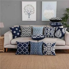 Navy Blue Pillows, Blue Cushions, Cream Living Rooms, Living Room Grey, White Lounge, Room Colors, Colours, Paint Colors, Living Room Decor Pillows