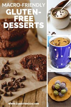 If you're looking for Macro-Friendly Gluten-Free Desserts, I've gotcha covered! Here's a round-up of top favorites that you will love too! Gluten Free Desserts, Healthy Desserts, Dessert Recipes, Healthy Meals, Healthy Recipes, Carrots N Cake, Dessert Games, Chocolate Fudge Cookies, Cookie Bowls
