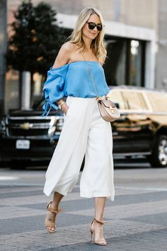 29 Chic and Modern Culotte Outfits for 2020 Summer Outfits, Casual Outfits, Fashion Outfits, Womens Fashion, Amy Jackson, Beige Outfit, White Culottes Outfit, Pinterest Mode, Paperbag Hose