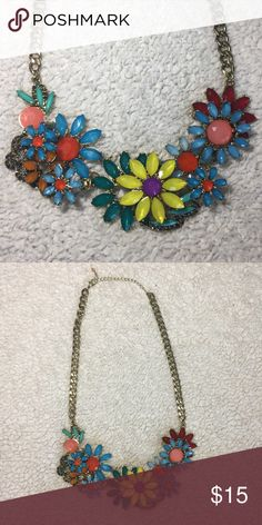 Colorful flower statement necklace Layered colorful flowers statement necklace, antique gold chain and lobster clasp Jewelry Necklaces