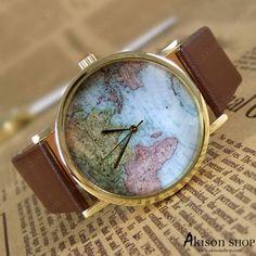 World Map Watch w/ dark brown band - $8.49