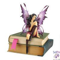 """SellPin.com: Pins for Sale by Owner: Who�d be more enchanting upon your shelf of favorite books or atop your computer screen than our elfin fairy girl? �Amethyst� is amazingly sculpted with wings so delicate we�re convinced she�ll fly away at any moment. Cast in quality designer resin, she�s intricately hand-painted in vibrant jewel tones from her petal boots to her woodsy tresses. A wonderful gift to yourself or another lover of fairies!4""""Wx4""""Dx7�""""H. 1 lb $24.95"""