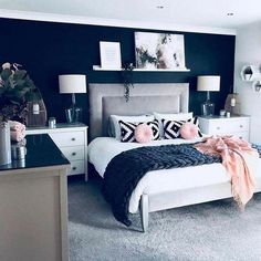 blue and white ჻ bedroom ჻ furniture ჻ decor ჻ minimal ჻ colourful ჻… – Bedroom Inspirations Master Bedroom Color Schemes, Dark Blue Bedrooms, Bedroom Inspirations, Bedroom Interior, Master Bedrooms Decor, Blue Bedroom, Bedroom Color Schemes, Blue Rooms, Master Bedroom Colors
