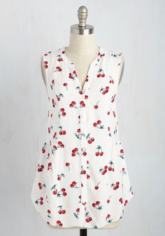 Steadfast Sojourn Top in Cherries. When the opportunity for an impromptu trip arises, you instinctively pack this printed top for a guaranteed gorgeous look when you reach your destination! #white #modcloth