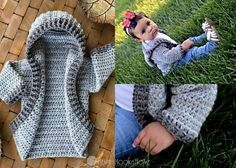 Getting family photos taken? Make one of these cardigans for each of the kiddos! This pattern is for the 12 month infant hoodie, but the same concept is what I've used to create all sizes that (currently) go up to Crochet Baby Jacket, Crochet Baby Sweaters, Crochet Hoodie, Crochet Cardigan Pattern, Crochet Baby Clothes, Baby Knitting, Cute Crochet, Crochet For Kids, Crochet Crafts