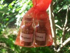 These little bottles work like lucky charms and are filled with magical charged and blessed herbs to aid your desire, The Price is for 2 Spell bottle in a lovely Organza pouch.   Please note that the cork is glued on so it cant be removed.