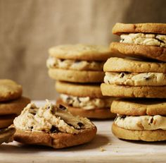 Chocolate Chip Cookie Peanut Butter Sandwiches - had one today and nearly died it was so good.