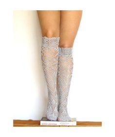 Lace high knee socks crochet gray lacy knee sleepers crochet boot socks tight high