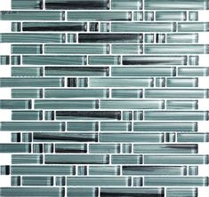 Glass Tile - Mixed Size Strips Bellavita Bamboo Glass Tile Mosaic - BS008 Pewter Blend - Glossy