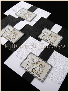 "Invitaciones de Boda, Blanco & Negro ""Doble Damasco"" 