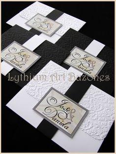 "Invitaciones de Boda, Blanco & Negro ""Doble Damasco"" | Lythium Art® Design by: Yil Siritt"
