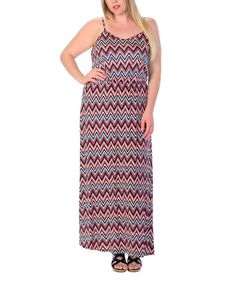 Coral & Green Chevron Maxi Dress - Plus