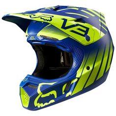 Fox 2015 V3 Savant LE Anaheim 1 Fluro Yellow/Blue Helmet Fox Helmets, Dirt Bike Helmets, Dirt Bike Gear, Dirt Bikes, Atv Gear, Motocross Helmets, Motocross Riders, Moto Bike, Motorcycle Helmets