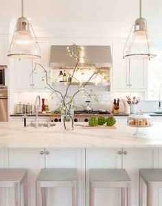 Everyone knows I like color, but I really LOVE white kitchens!! White marble counter tops #marble #marblecountertops